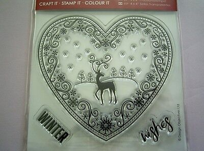 Winter Wishes - REINDEER in a HEART - CHRISTMAS - Clear Stamp Set x DoCrafts