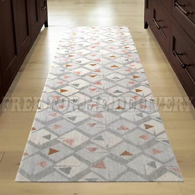 VOLUME GEOMETRIC GREY TRENDY MODERN FLOOR RUG RUNNER 80x400cm **FREE DELIVERY**
