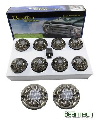 Defender LED Lights Smoked Lamp Upgrade Kit BA-9720 + Rev light + Red Fog light