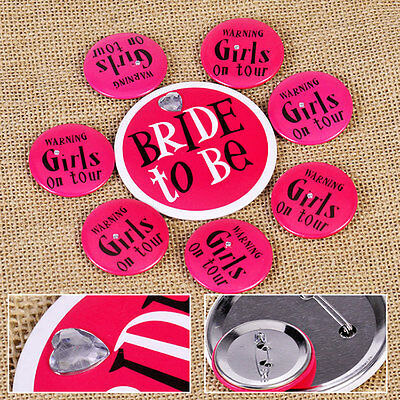 8x Bride to Be Girls On Tour Badges Pin Bachelorette Bridal Shower Party Favor