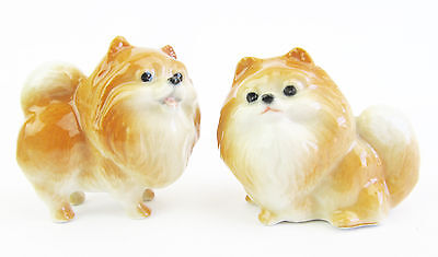 Miniature Porcelain,Hand Painted Pomeranian Set2 Dog Figurine