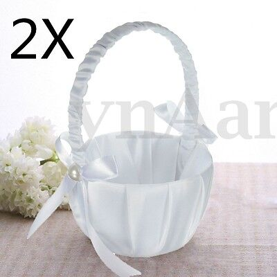 2X Romantic White Satin Bowknot Pearl Flower Girl Basket Ceremony Wedding Party