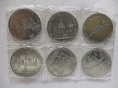Lot of 6 Russian Soviet Union Coins 1 Rouble 1980 Moscow Olympics