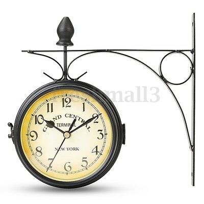 Wall Mount Station Clock Double Sided Round Garden Vintage Retro Home Decor