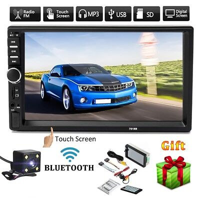 7'' 2DIN Bluetooth Autoradio Coche MP5 Reproductor Estéreo AUX USB FM TF+Camara