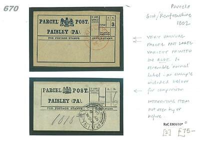670 1902 Paisley/Private PPL Very unusual variety printed in blue