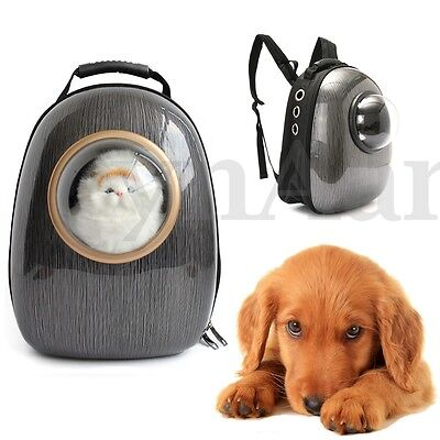Black Dog Cat Pet Space Astronaut Capsule Backpack Breathable Carrier Travel Bag