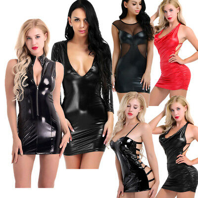 Sexy Women's Nightwear Slim V Neck Shiny Leather Bodycon Club Party Pencil Dress