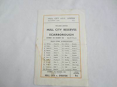1952-53 MIDLAND LEAGUE  RESERVES HULL CITY v SCARBOROUGH