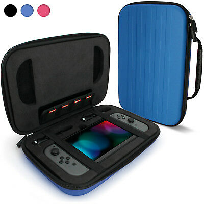 Blue 'Elite' EVA Hard Travel Case Cover for Nintendo Switch + Carry Handle