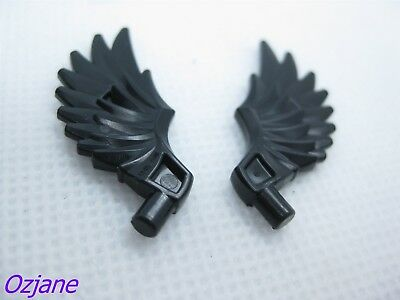 LEGO PART 11100 MINIFIG BLACK FEATHERED WING ONE PAIR