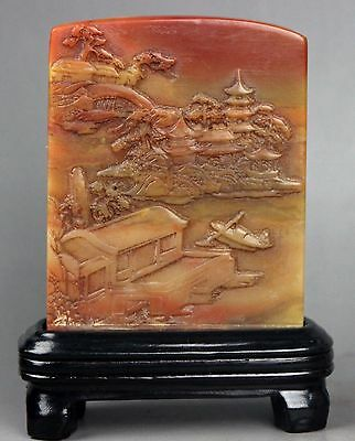 Ancient Chinese shou shan jade carved jade Seal with box