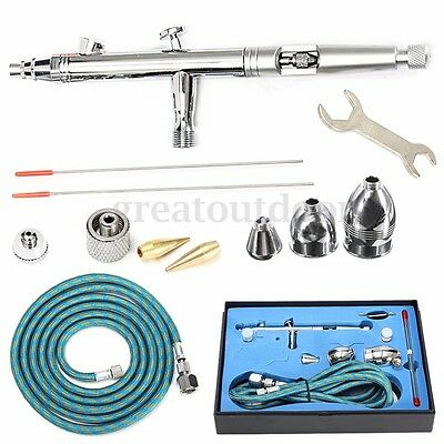 AU Needle Airbrush Spray Gun Paint Art Dual Action Air Brush Kit 0.3/0.5/0.8mm
