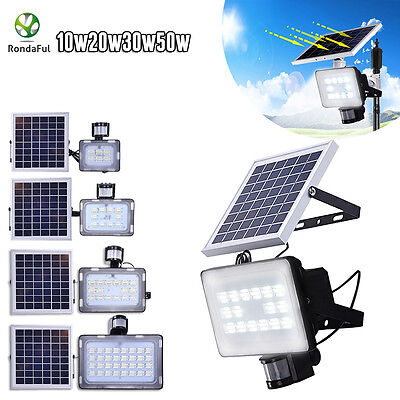 10W 20W 30W 50W LED Solar Sensor Light Security Garden Flood light Street Lamp