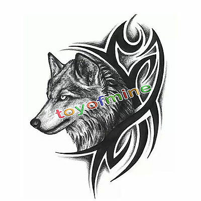 Hot cool Wolf Head Waterproof Temporary Removable Tattoo Body Arm Art Sticker