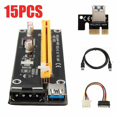 15x USB3.0 PCI-E Express 1x To 16x Extender Riser Card Adapter Cable For Bitcoin