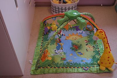 Fisher-Price Gym Play Baby Playmat Rainforest Activity Musical Toy Nature Sounds