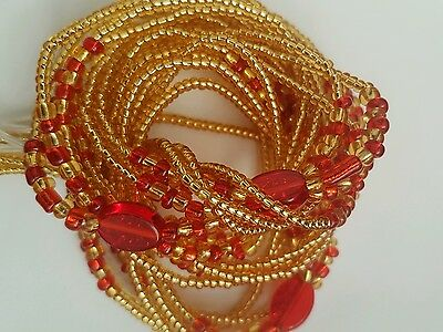 "African  Gold & Red Waist Beads, 3-in-1, 45""inches long New"