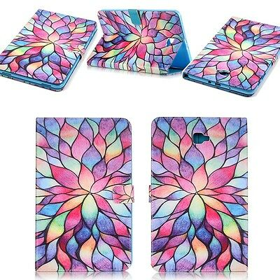 Painted Folding Stand Flip Design Leather Colorful Flowers Cases Cover For iPad