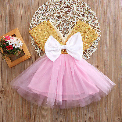 US Baby Toddler Girls Dress Flower Princess Wedding Party Pageant Fancy Dress