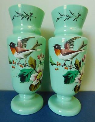 Huge Pair Bohemian Glass Vase Pair hand enameled Birds & Flowers c1900s