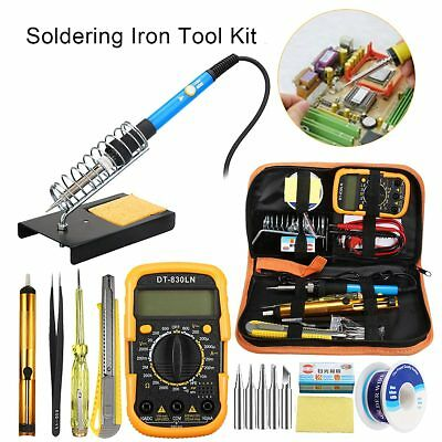 60W Adjustable Temperature Welding Soldering Solder Iron Multimeter Set 110/220V