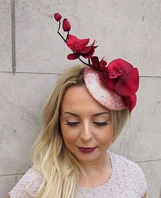 Rose Gold Red Sequin Orchid Flower Fascinator Hat Wedding Hair Clip Races 2947