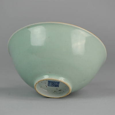 Antique Ca 1800 Chinese Porcelain Monochrome Celadon Bowl Marked