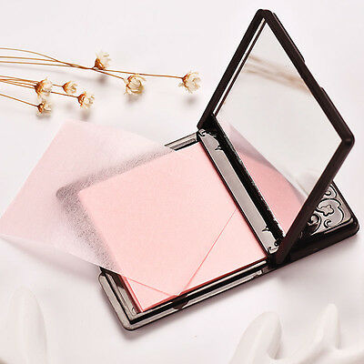50Sheets Women's Face Oil Absorbing Paper Mirror Case Makeup Beauty Tool Noble