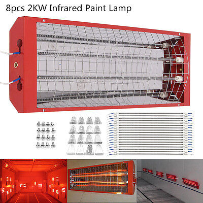 8x 2kW Spray Baking Booth Infrared Paint Dryer Curing Heater Heating Light Lamp