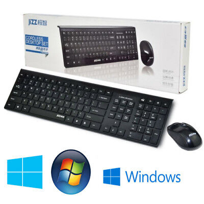 Slim 2.4GHz Cordless Wireless Keyboard and Mouse Combo Set For PC Laptop Black