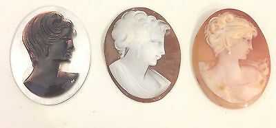 ANTIQUE VINTAGE CAMEO JEWELRY. Set of 3 *RARE* (COLOR=MIXED). 35x30mm