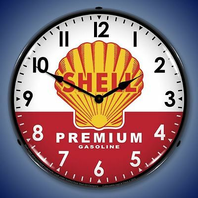 New vintage style SHELL PREMIUM GASOLINE lighted clock more ⏰ available USA made