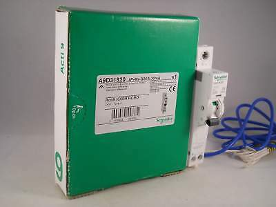 Schneider RCBO 20 Amp 30mA Type B 20A Acti9 iC60H Merlin Gerin A9D31820 NEW