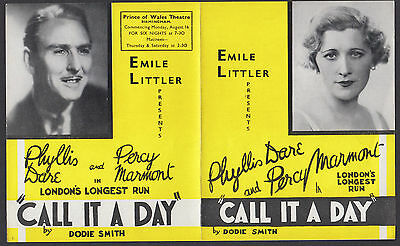 1937 'Call It A Day' Emile Littler. Phyllis Dare,  Marmont, Dodie Smith  JZ7.1