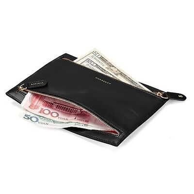 Aspinal of London Multi Currency Wallet in Smooth Black Leather. YMC Embossed.