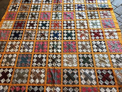Antique Irish Chain Variation Quilt Top -Beautiful OLD FABRIC