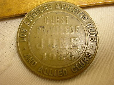 Vtg 1936 Lucky Seven Coin Golden Tour of the Allied Clubs Los Angeles Athletic