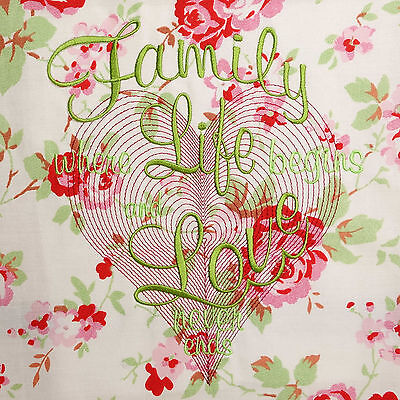 Cath Kidston Fabric Panel Embroidered Quilt Block Pink White Floral 100%Cotton