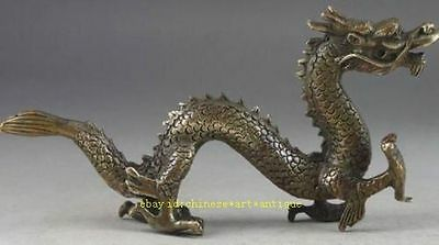 Handwork Hammered Old Chinese Brass Dragon Exorcism Oriental Statue Big Decor AA