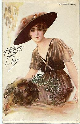 Postcard / Carte Postale / Illustrateur Corbella / Femme Au Chapeau / Women
