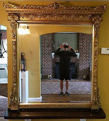 Very Large 19th Century Gilt Plaster Wood Frame Mirror with Base