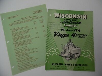 1952 Wisconsin VE-4 CF-4 Air-Cooled 4-Cycle Engine Catalog Brochure Vintage VG