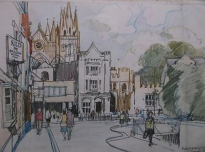 COLOURED GRAPHITE DRAWING by FREDERICK GEORGE WILLS 1901-1993 R.I. PETERBOROUGH