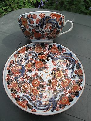 ANTIQUE ORIENTAL IMARI CHINESE/JAPANESE CUP&SAUCER Cobalt Blue&Gold Hand Painted