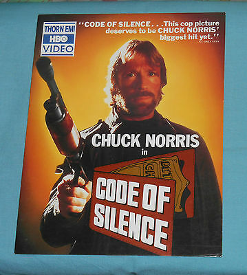 vintage CODE OF SILENCE video store counter display small standee Chuck Norris