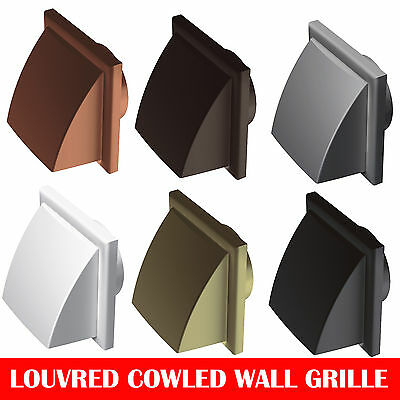 "Plastic Hooded Louvred Cowled Wall Grille Extractor Fan Duct Vents 4"" , 5"" , 6"""