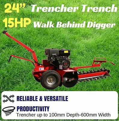 "Trencher Trench Digger Walk Behind 24""  Depth 15Hp Engine Ideal For Nbn"