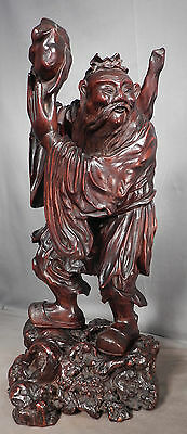 Antique Qing BIG Wood Carving Statue FANTASTIC Philosopher Root base Dong Fang