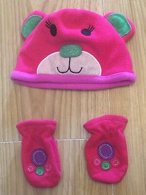 Mothercare baby girls hot pink teddy bear design hat and mitten set 6-12 months